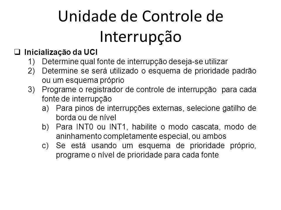 Unidade de Controle de Interrupção Inicialização da UCI 1)Determine qual fonte de interrupção deseja-se utilizar 2)Determine se será utilizado o esque