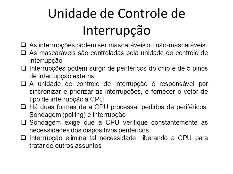 Unidade de Controle de Interrupção Quando ocorre uma interrupção, a CPU para o processo principal, salva seu status e transfere a execução para a unidade periférica que a interrompeu.