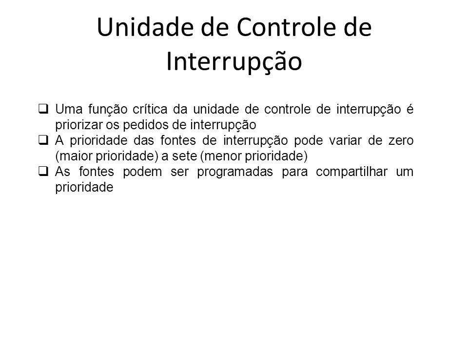 Uma função crítica da unidade de controle de interrupção é priorizar os pedidos de interrupção A prioridade das fontes de interrupção pode variar de z