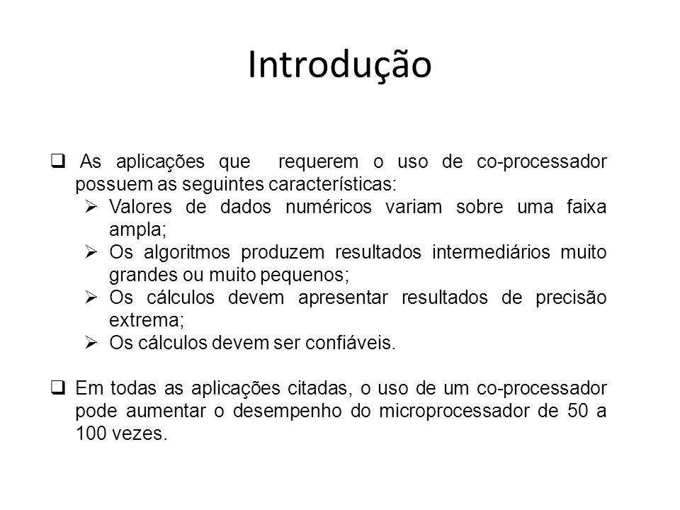 Introdução As aplicações que requerem o uso de co-processador possuem as seguintes características: Valores de dados numéricos variam sobre uma faixa