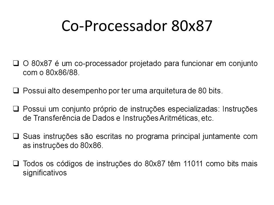 Co-Processador 80x87 O 80x87 é um co-processador projetado para funcionar em conjunto com o 80x86/88. Possui alto desempenho por ter uma arquitetura d