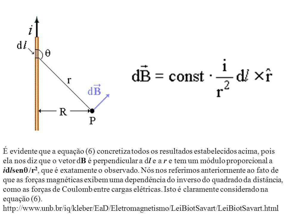 É evidente que a equação (6) concretiza todos os resultados estabelecidos acima, pois ela nos diz que o vetor dB é perpendicular a dl e a r e tem um m