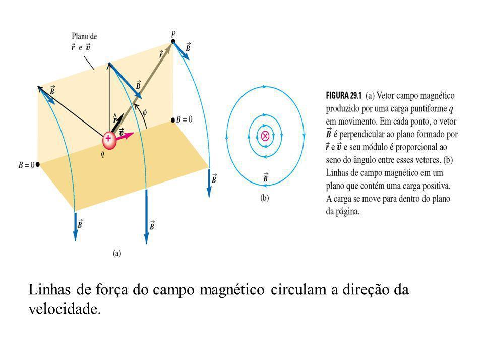 Linhas de força do campo magnético circulam a direção da velocidade.