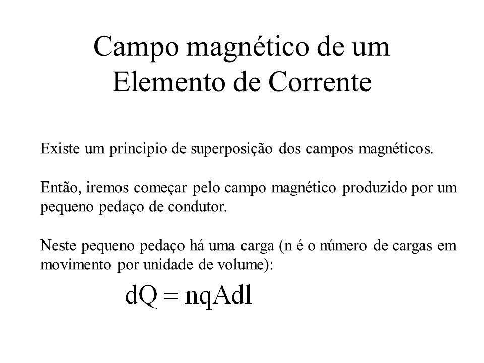 Campo magnético de um Elemento de Corrente Existe um principio de superposição dos campos magnéticos. Então, iremos começar pelo campo magnético produ
