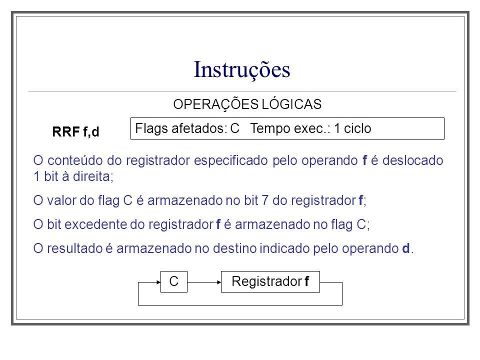 Instruções OPERAÇÕES LÓGICAS RRF f,d Flags afetados: C Tempo exec.: 1 ciclo O conteúdo do registrador especificado pelo operando f é deslocado 1 bit à
