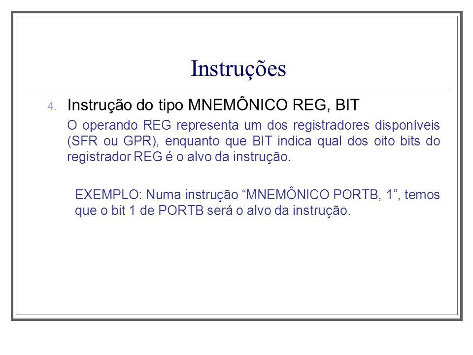 Instruções 4. Instrução do tipo MNEMÔNICO REG, BIT O operando REG representa um dos registradores disponíveis (SFR ou GPR), enquanto que BIT indica qu