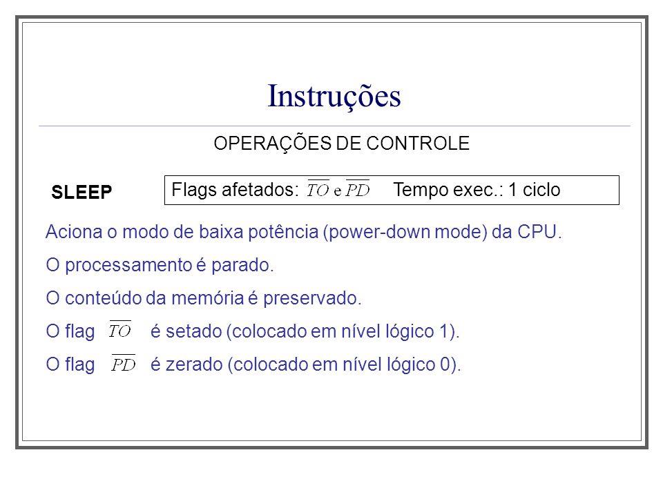 Instruções OPERAÇÕES DE CONTROLE SLEEP Aciona o modo de baixa potência (power-down mode) da CPU. O processamento é parado. O conteúdo da memória é pre