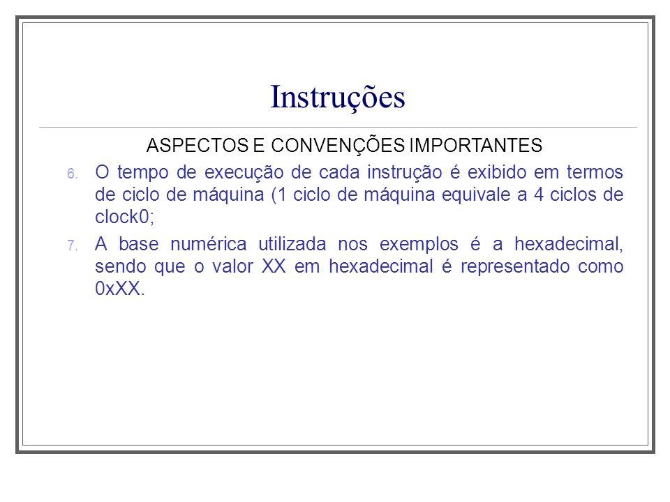 Instruções ASPECTOS E CONVENÇÕES IMPORTANTES 6. O tempo de execução de cada instrução é exibido em termos de ciclo de máquina (1 ciclo de máquina equi
