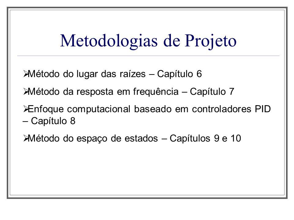 Metodologias de Projeto Método do lugar das raízes – Capítulo 6 Método da resposta em frequência – Capítulo 7 Enfoque computacional baseado em control