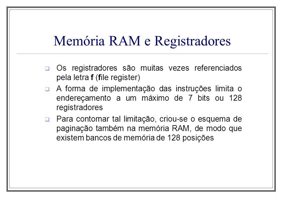 Memória RAM e Registradores Os registradores são muitas vezes referenciados pela letra f (file register) A forma de implementação das instruções limit