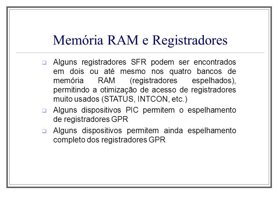 Memória RAM e Registradores Alguns registradores SFR podem ser encontrados em dois ou até mesmo nos quatro bancos de memória RAM (registradores espelh