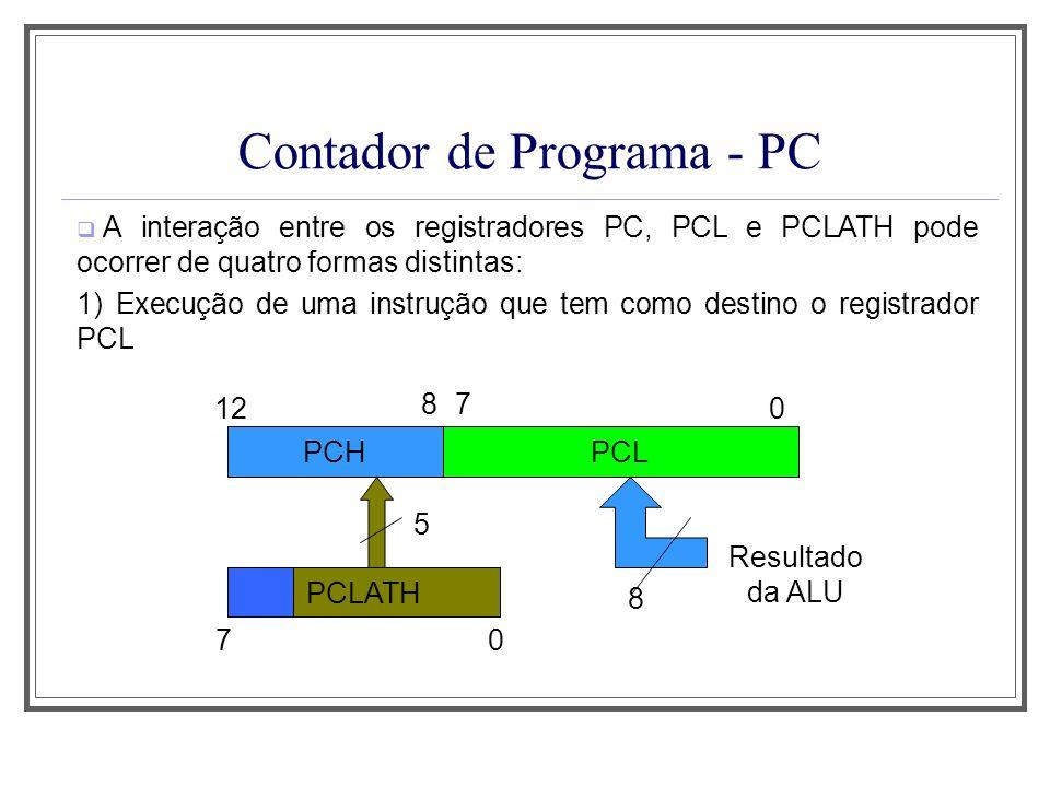 Contador de Programa - PC A interação entre os registradores PC, PCL e PCLATH pode ocorrer de quatro formas distintas: 1) Execução de uma instrução qu