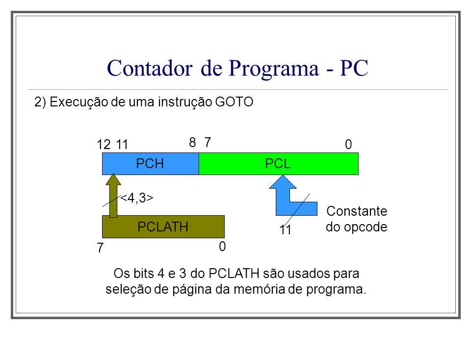 Contador de Programa - PC 2) Execução de uma instrução GOTO PCHPCL 12 87 0 PCLATH 7 0 11 Constante do opcode 11 Os bits 4 e 3 do PCLATH são usados par