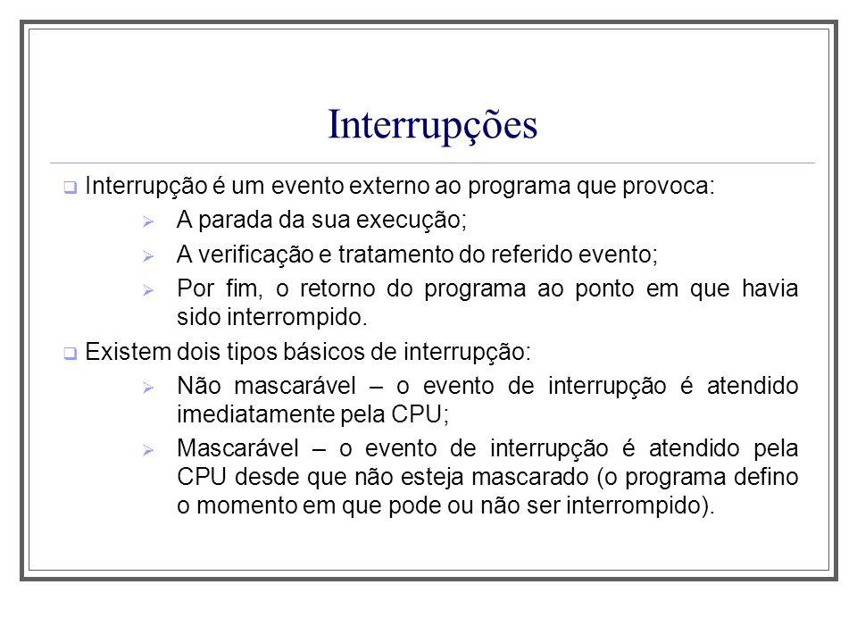 Interrupções Interrupção é um evento externo ao programa que provoca: A parada da sua execução; A verificação e tratamento do referido evento; Por fim