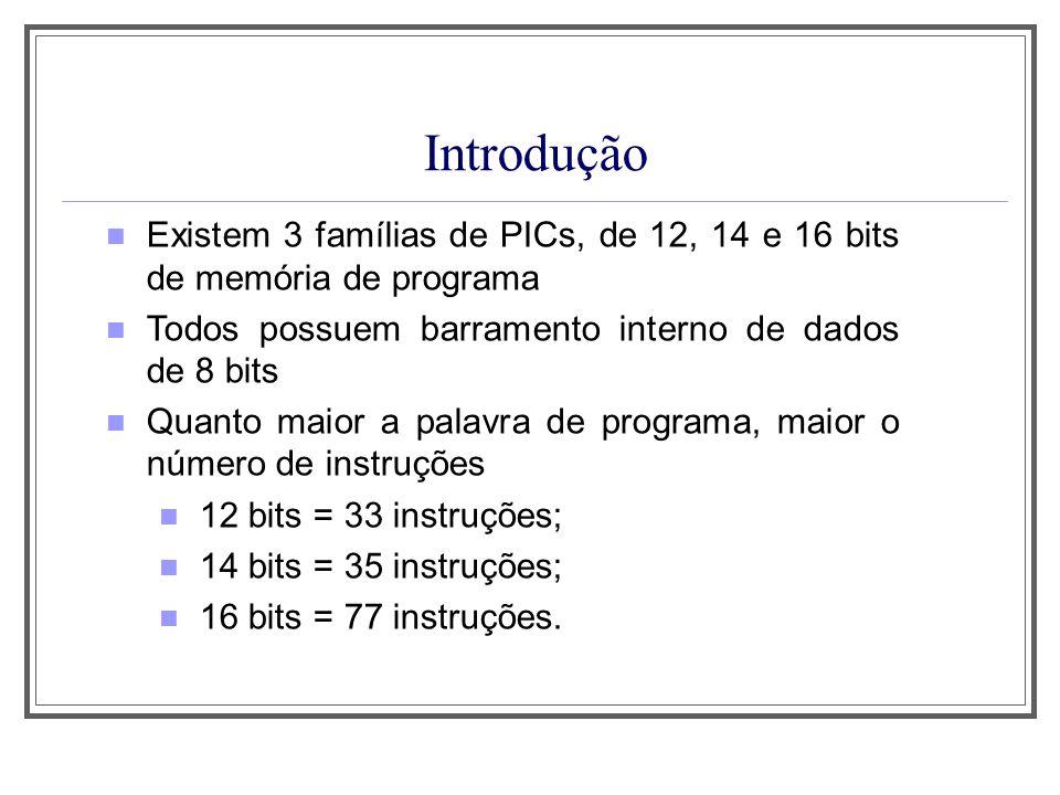 Introdução EXEMPLOS DE CADA FAMÍLIA PIC 12 Bits14 Bits16 Bits 12C50812C67117C4X 12C50912C67217C75X 12CE51812CE67317C76X 12CE51912CE67418C2XX 16C541400018C4XX 16C5516C55X18C858 16C5616F62X18F242 16C5716C7X18F252 16C5816F7X18F258 16C50516F8X18F442 16HV54016F87X18F877
