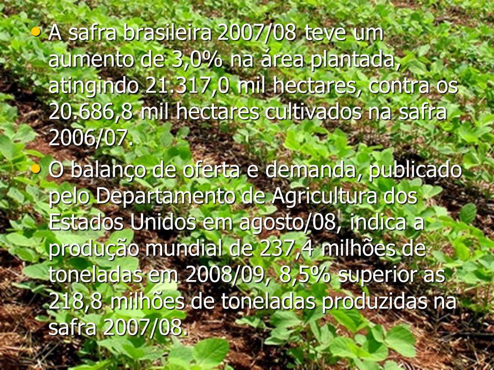 A safra brasileira 2007/08 teve um aumento de 3,0% na área plantada, atingindo 21.317,0 mil hectares, contra os 20.686,8 mil hectares cultivados na sa
