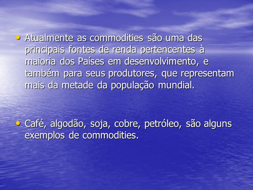 Quatro tipos de commodities: Commodities minerais: minério de ferro, alumínio, petróleo etc.