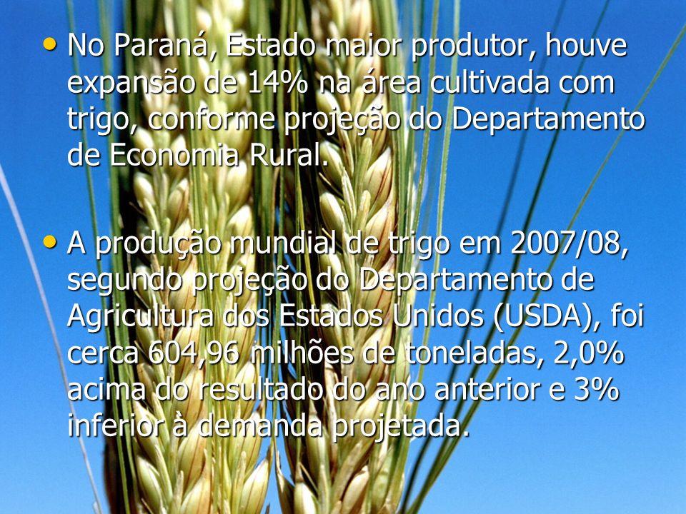 No Paraná, Estado maior produtor, houve expansão de 14% na área cultivada com trigo, conforme projeção do Departamento de Economia Rural. No Paraná, E