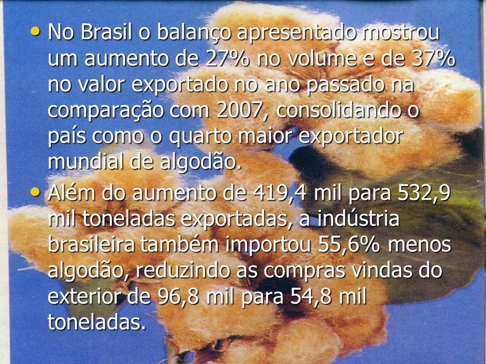 No Brasil o balanço apresentado mostrou um aumento de 27% no volume e de 37% no valor exportado no ano passado na comparação com 2007, consolidando o
