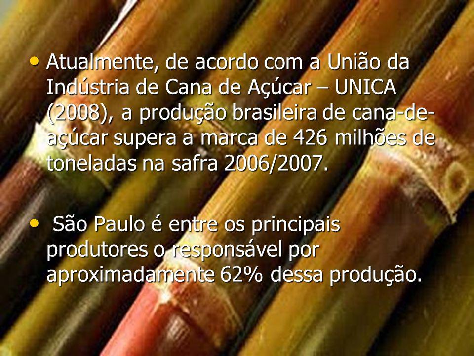 Atualmente, de acordo com a União da Indústria de Cana de Açúcar – UNICA (2008), a produção brasileira de cana-de- açúcar supera a marca de 426 milhõe