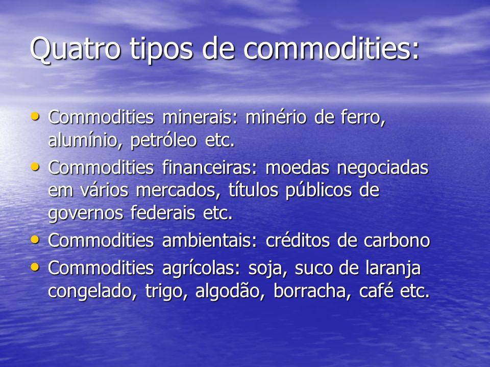 O Brasil é um grande produtor e exportador de commodities.