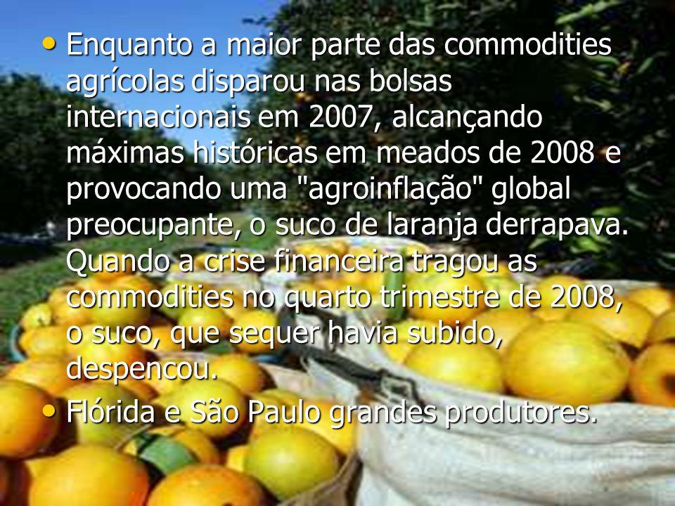Enquanto a maior parte das commodities agrícolas disparou nas bolsas internacionais em 2007, alcançando máximas históricas em meados de 2008 e provoca