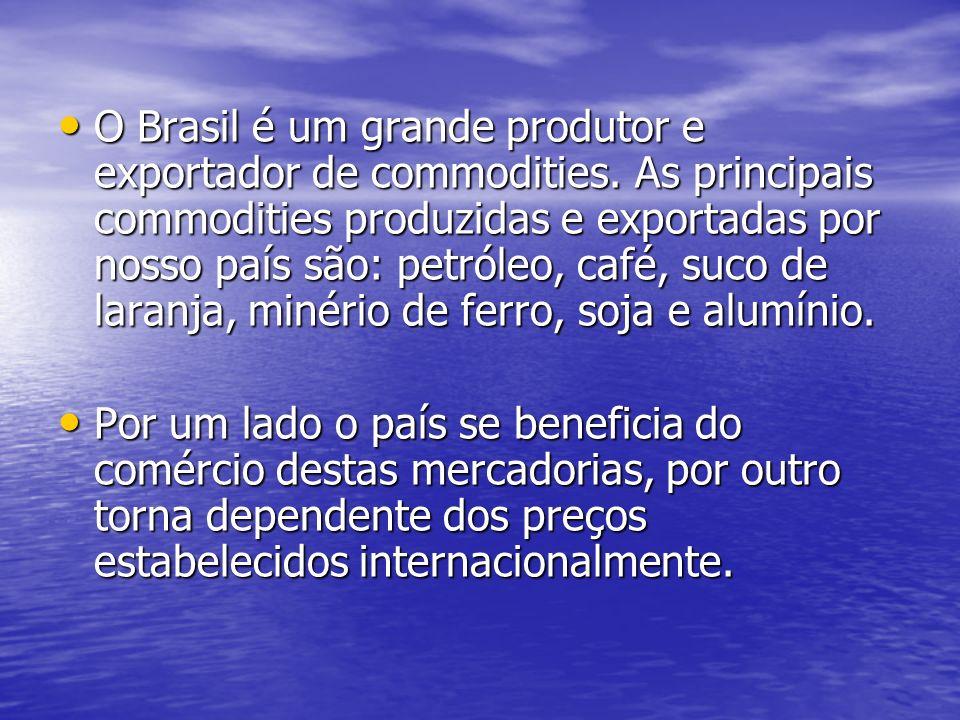 O Brasil é um grande produtor e exportador de commodities. As principais commodities produzidas e exportadas por nosso país são: petróleo, café, suco