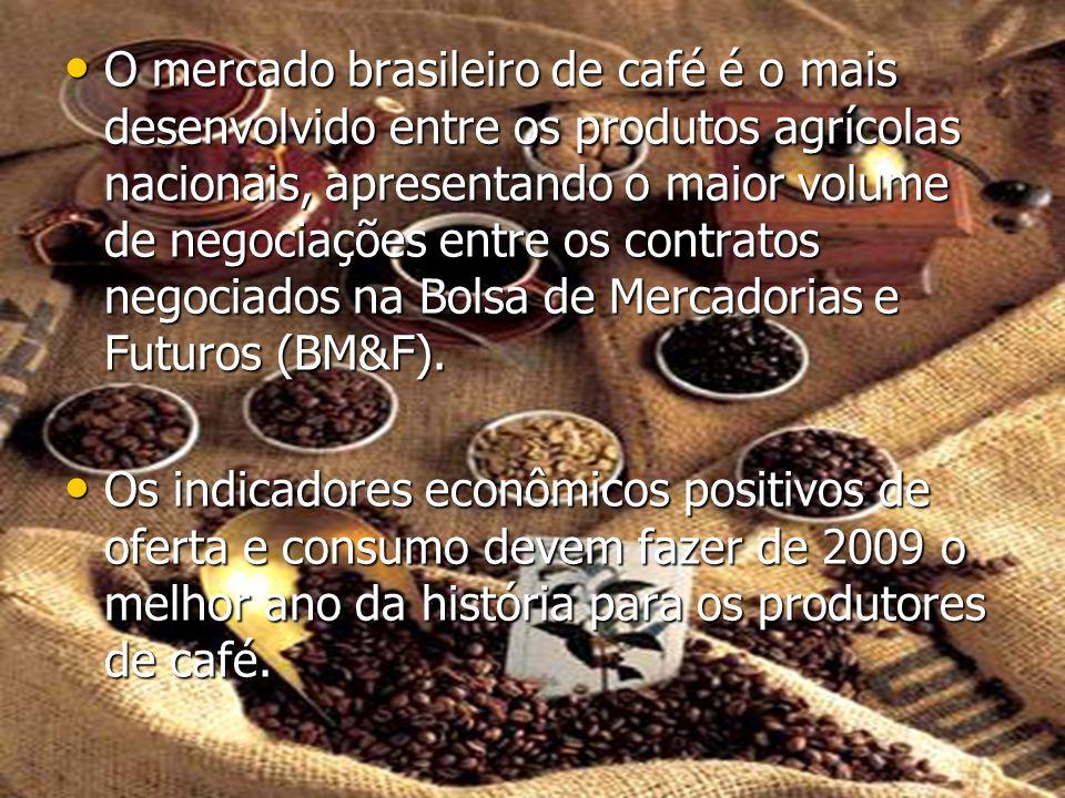 O mercado brasileiro de café é o mais desenvolvido entre os produtos agrícolas nacionais, apresentando o maior volume de negociações entre os contrato