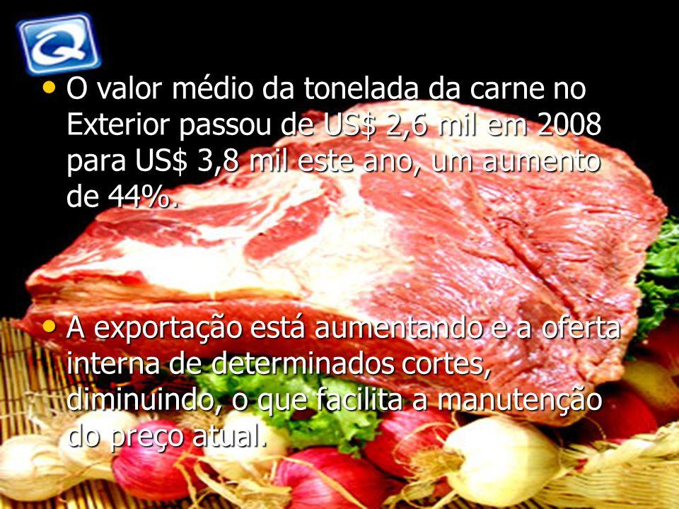 O valor médio da tonelada da carne no Exterior passou de US$ 2,6 mil em 2008 para US$ 3,8 mil este ano, um aumento de 44%. O valor médio da tonelada d