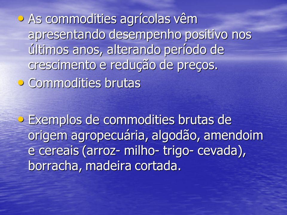 As commodities agrícolas vêm apresentando desempenho positivo nos últimos anos, alterando período de crescimento e redução de preços. As commodities a