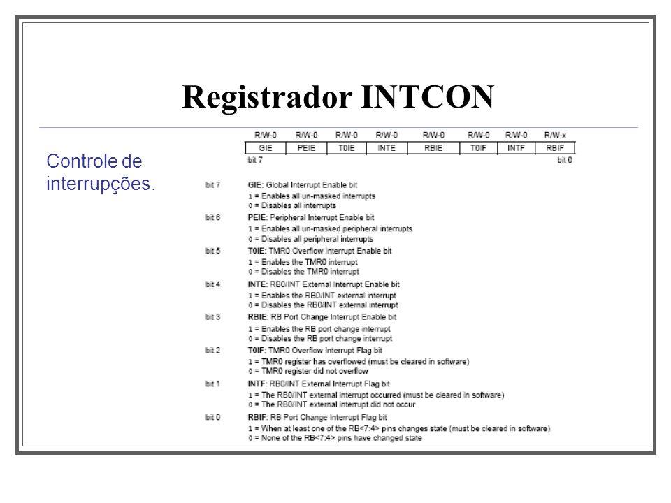 Registrador INTCON Controle de interrupções.