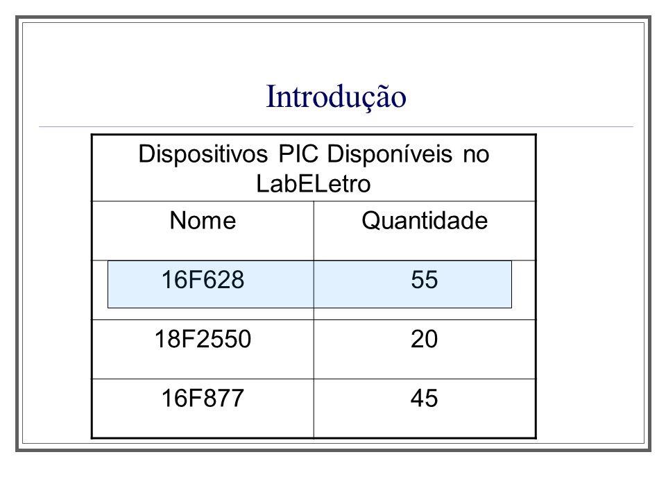 Características Principais do PIC16F628 1.Baixo custo; 2.Facilidade de Programação; 3.Grande diversidade de periféricos internos; 4.Compatibilidade em nível de software e de hardware com outros PICs de 18 pinos; 5.Memória de Programa do tipo Flash; 6.Excelente velocidade de execução.