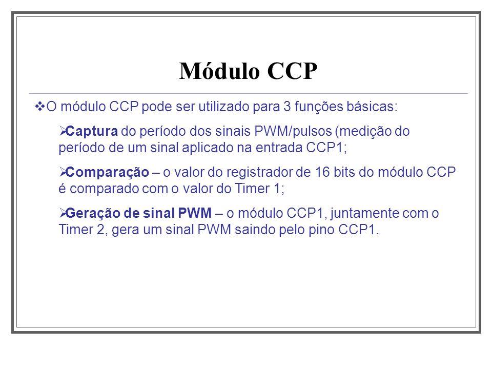 Módulo CCP O módulo CCP pode ser utilizado para 3 funções básicas: Captura do período dos sinais PWM/pulsos (medição do período de um sinal aplicado n