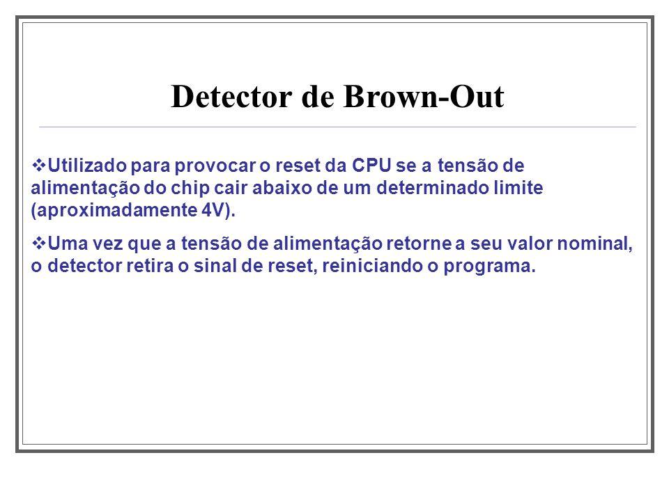 Detector de Brown-Out Utilizado para provocar o reset da CPU se a tensão de alimentação do chip cair abaixo de um determinado limite (aproximadamente