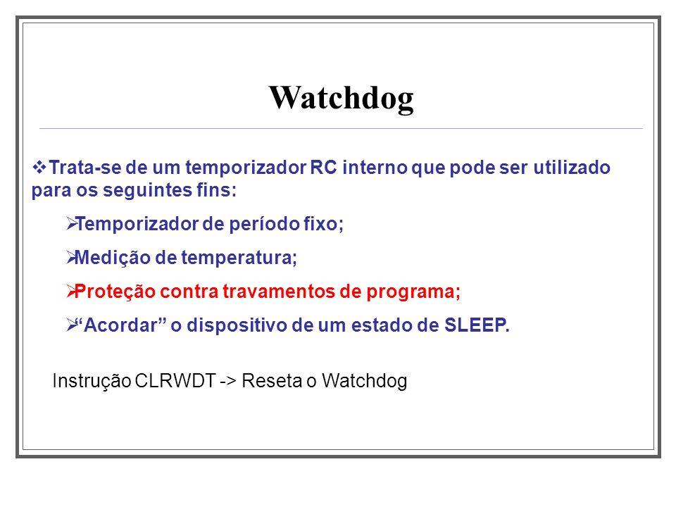 Watchdog Trata-se de um temporizador RC interno que pode ser utilizado para os seguintes fins: Temporizador de período fixo; Medição de temperatura; P