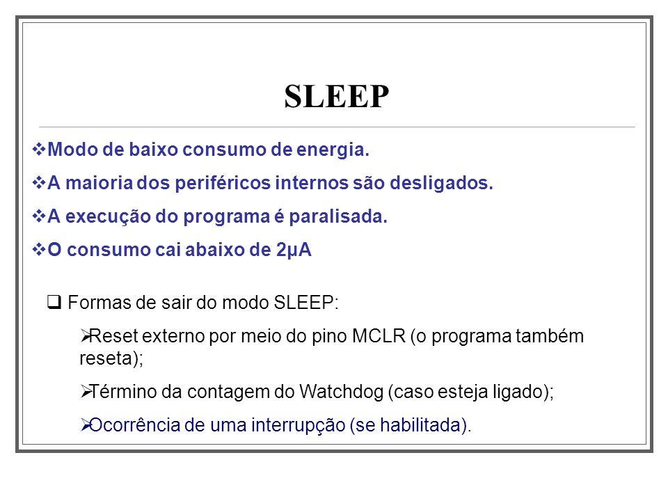 SLEEP Modo de baixo consumo de energia. A maioria dos periféricos internos são desligados. A execução do programa é paralisada. O consumo cai abaixo d