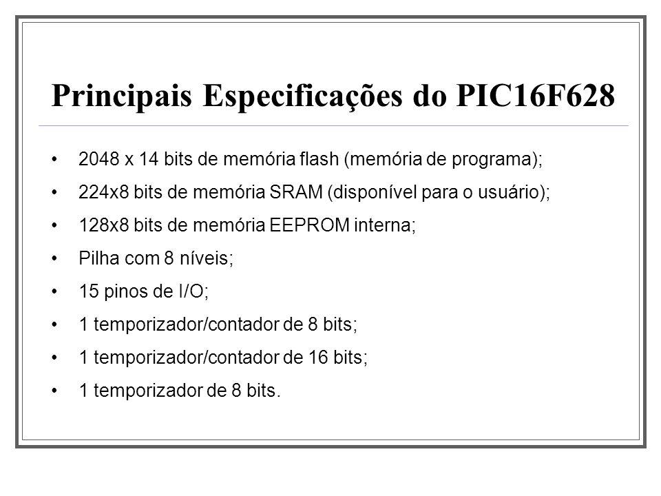 1 canal PWM com captura e amostragem; 1 canal de comunicação USART; 2 comparadores analógicos com referência interna programável de tensão; 1 timer watchdog; 10 fontes de interrupção independentes; Capacidade de corrente de 25mA por pino de I/O; 35 instruções; Principais Especificações do PIC16F628