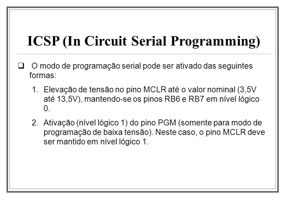 ICSP (In Circuit Serial Programming) O modo de programação serial pode ser ativado das seguintes formas: 1.Elevação de tensão no pino MCLR até o valor