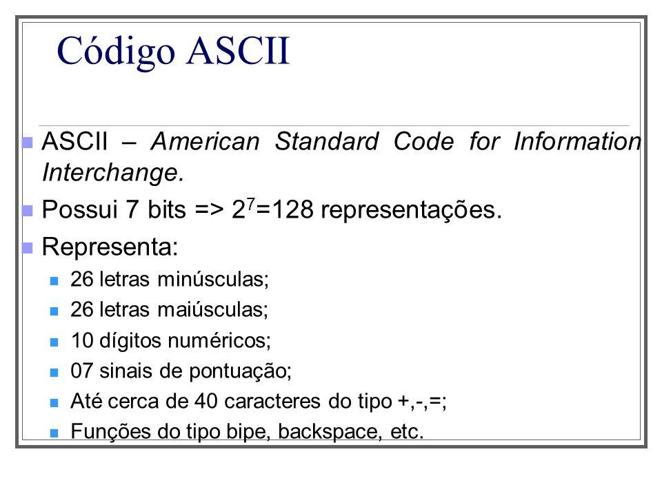 Código ASCII ASCII – American Standard Code for Information Interchange. Possui 7 bits => 2 7 =128 representações. Representa: 26 letras minúsculas; 2