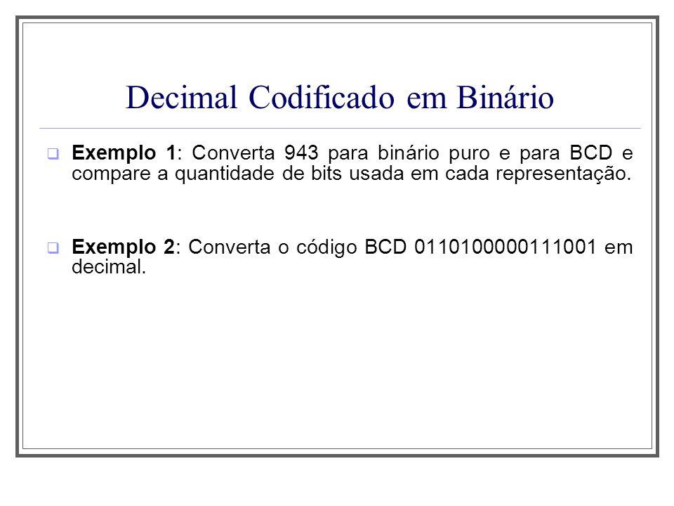 Decimal Codificado em Binário Exemplo 1: Converta 943 para binário puro e para BCD e compare a quantidade de bits usada em cada representação. Exemplo