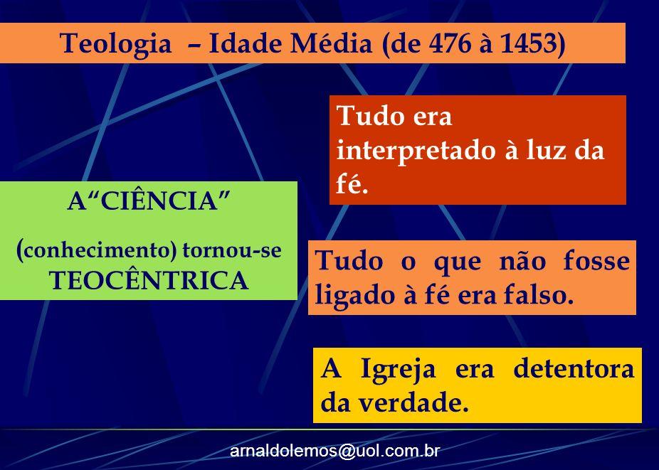 arnaldolemos@uol.com.br Teologia – Idade Média (de 476 à 1453) ACIÊNCIA ( conhecimento) tornou-se TEOCÊNTRICA Tudo era interpretado à luz da fé. Tudo
