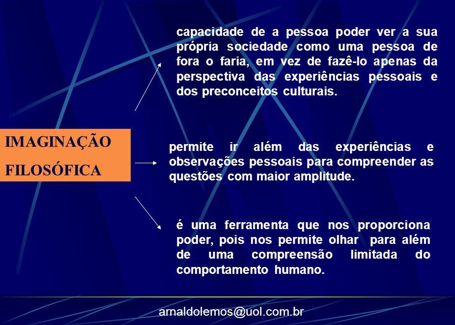 arnaldolemos@uol.com.br IMAGINAÇÃO FILOSÓFICA capacidade de a pessoa poder ver a sua própria sociedade como uma pessoa de fora o faria, em vez de fazê
