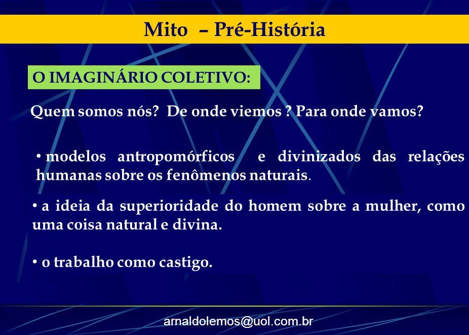 arnaldolemos@uol.com.br Mito – Pré-História modelos antropomórficos e divinizados das relações humanas sobre os fenômenos naturais. a ideia da superio
