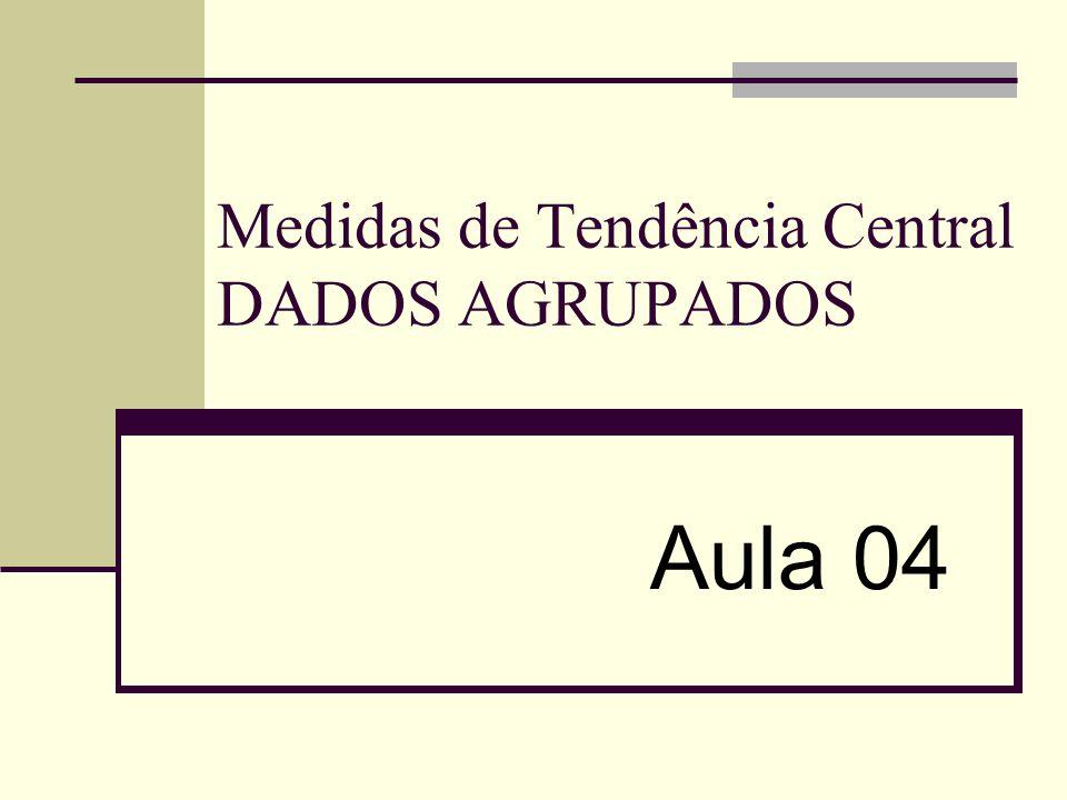 Medidas de Tendência Central DADOS AGRUPADOS Aula 04