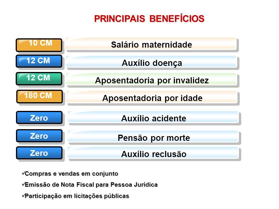 PRINCIPAIS BENEFÍCIOS 12 CM Salário maternidade Auxílio doençaAposentadoria por invalidez Aposentadoria por idade Auxílio acidente 12 CM 180 CM Zero 1
