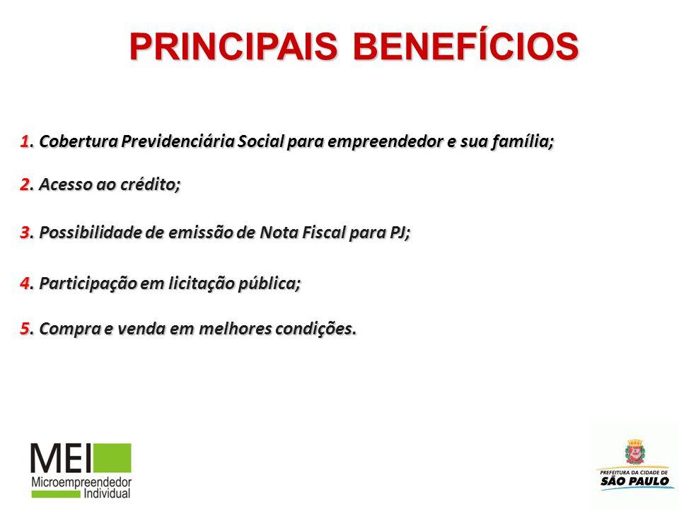 PRINCIPAIS BENEFÍCIOS 1. Cobertura Previdenciária Social para empreendedor e sua família; 2. Acesso ao crédito; 4. Participação em licitação pública;