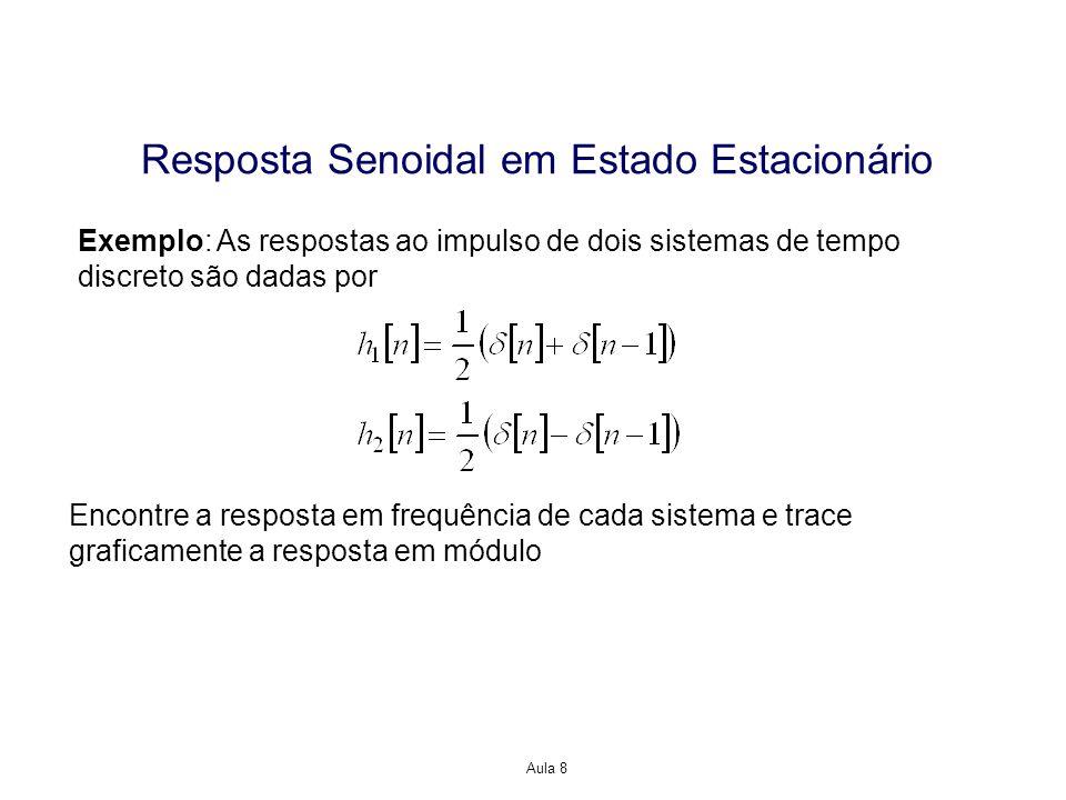 Aula 8 Resposta Senoidal em Estado Estacionário Exemplo: As respostas ao impulso de dois sistemas de tempo discreto são dadas por Encontre a resposta