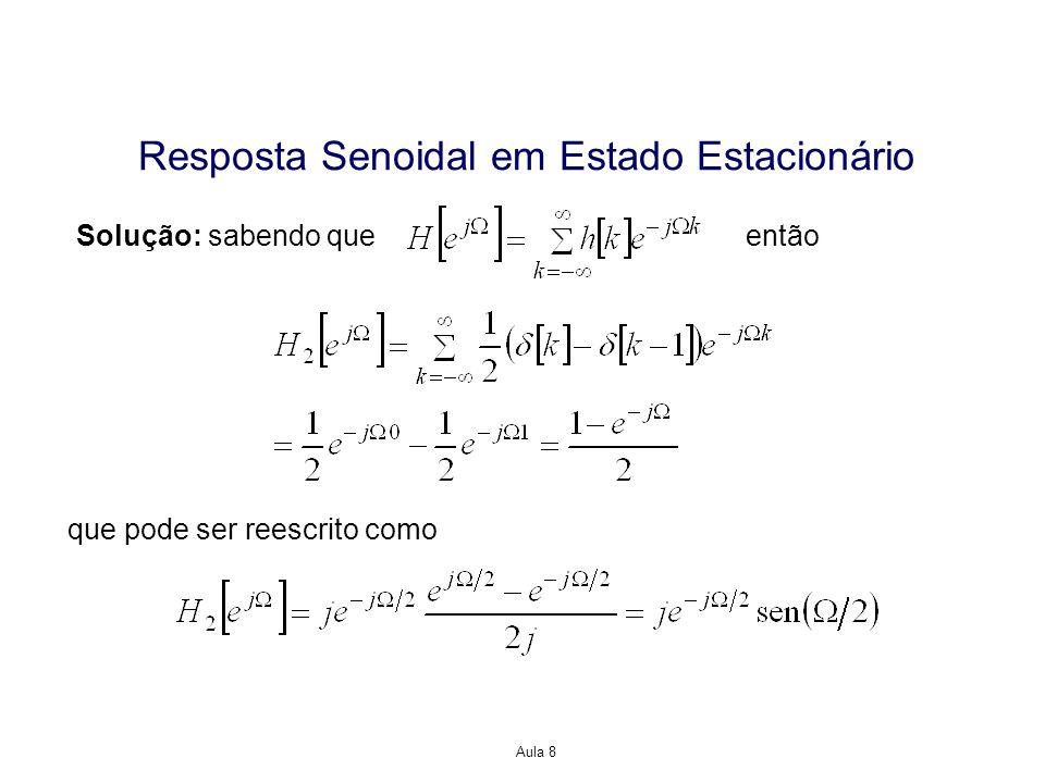 Aula 8 Resposta Senoidal em Estado Estacionário Solução: sabendo queentão que pode ser reescrito como