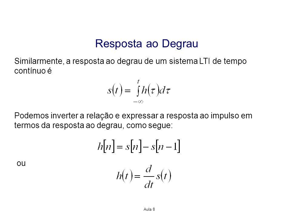 Aula 8 Resposta ao Degrau Similarmente, a resposta ao degrau de um sistema LTI de tempo contínuo é Podemos inverter a relação e expressar a resposta a