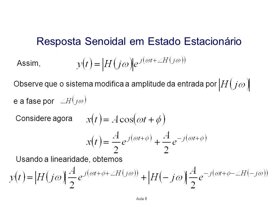 Aula 8 Resposta Senoidal em Estado Estacionário Assim, Observe que o sistema modifica a amplitude da entrada por e a fase por Considere agora Usando a